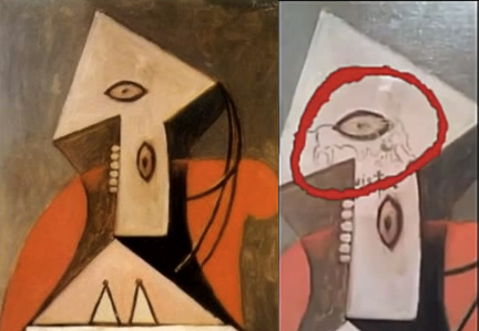Before and After of Pablo Picasso's Woman in a Red Armchair, 1929
