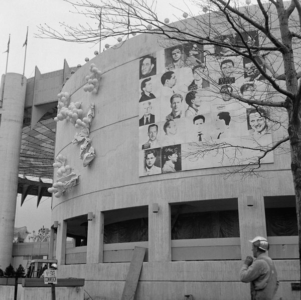Andy Warhol's mural for the 1964 World's Fair in Queens, New York, before it was destroyed.