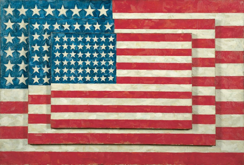 Jasper Johns, Three Flags, 1958. Encaustic on canvas, 30 7/8 × 45 1/2 × 5 in. (78.4 × 115.6 × 12.7 cm). Whitney Museum of American Art, New York; 50th Anniversary Gift of the Gilman Foundation Inc., The Lauder Foundation, A. Alfred Taubman, Laura-Lee Whittier Woods, and purchase  80.32  On view Art © Jasper Johns / Licensed by VAGA, New York, NY