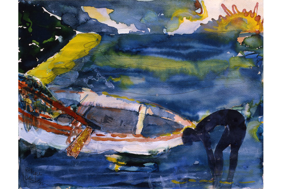 Romare Bearden, Martinique Morning, 1987, Watercolor and collage on paper, 13 x 16.75 inches.