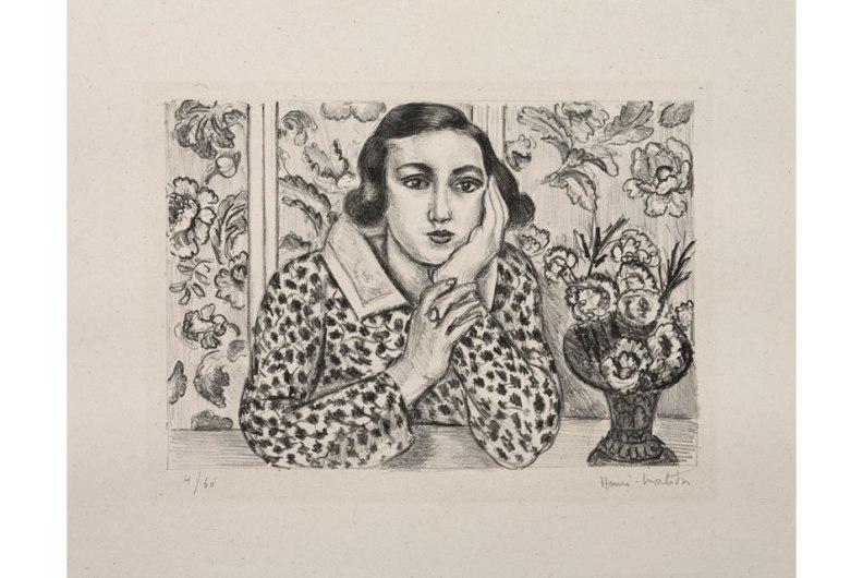 Young Girl Leaning on Her Elbows in front of Flowered Screen, 1923. Crayon lithograph with scraping. Image: 7 3/16 x 10 5/16 in. Sheet: 11 3/8 x 14 1/4 in. Pierre and Tana Matisse Foundation (1732 - 109020)© 2013 Succession H. Matisse/Artists Rights Society (ARS), New York. Courtesy American Federation of Arts.