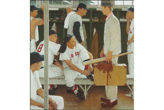 Norman Rockwell (1894-1978), The Rookie (Red Sox Locker Room). Oil on canvas; 41 x 39 in.; Painted in 1957. Estimate: $20,000,000-30,000,000. Photo: Christie's Images Ltd 2014