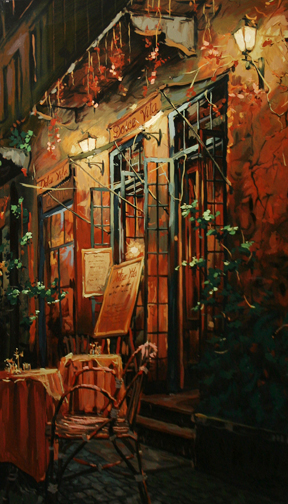 Viktor Shvaiko - Romantic Evening, 1999, Hand Embellished Serigraph on Canvas, Edition of 325