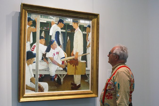 "Peter Rockwell, son of Norman Rockwell, with ""The Rookie,"" which sold for $22.5 million on Thursday. Credit Brian Snyder/Reuters"