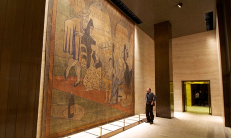 Plans to move a stage curtain painted by Pablo Picasso from a wall at the Four Seasons restaurant in New York have sparked an outcry. Photograph: Rick Burner/AP