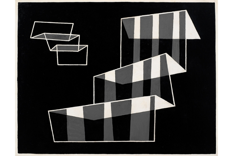Josef Albers, Steps (JAAF 1976.1.1873) 1931/56, 16 1/2 x 21 1/4 in / 42 x 54 cm. Casein on masonite.©2014 The Josef and Anni Albers Foundation/Artists Rights Society New York/DACS London.