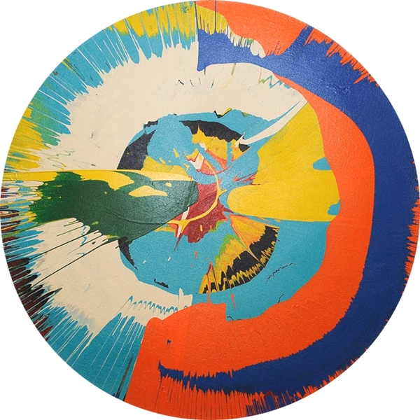 A fake Damien Hirst spin painting that pastor Kevin Sutherland allegedly tried to pass off as authentic. Courtesy Manhattan District Attorney's Office, via NY Daily News.