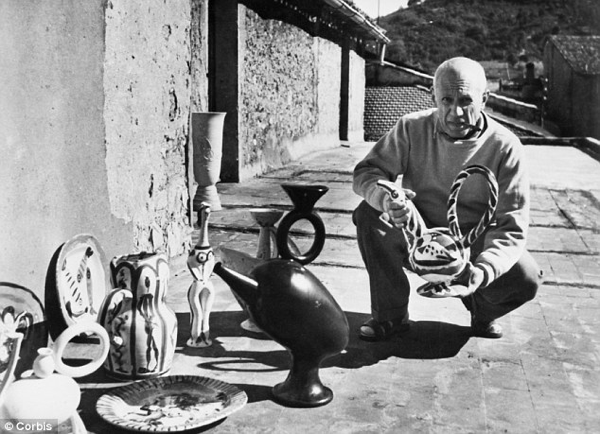Picasso at his Vallauris studio Photo via: Daily Mail