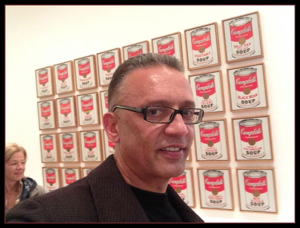 "Mood Conyers with Warhol's  ""Campbell's Soup Cans,"""