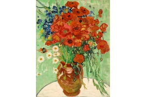 Vincent van Gogh, Still Life, Vase with Daisies and Poppies. Oil on linen, 26 by 20⅛ in. 66 by 51 cm. Painted on June 16-17, 1890. Est. $30/50 million. Photo: Sotheby's.