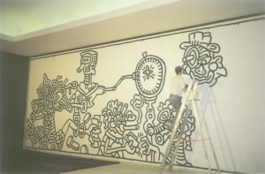 Haring Painting a Mural At the Casino Knokke in 1987.