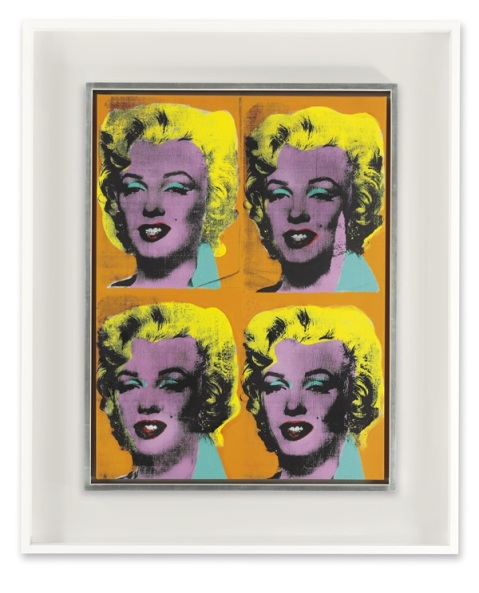 Andy Warhol Four Marilyns (1962)  Estimate: In the region of $40 millon. Image: Courtesy of Christie's.