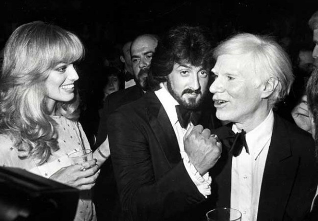 Andy Warhol partying with Susan Anton and Sylvester Stallone