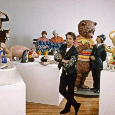 Jeff Koons with collection of his sculptures in New York. , 1989