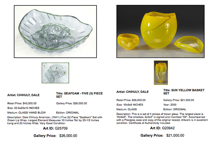 Chihuly at Gallery Art, Aventura, Fl