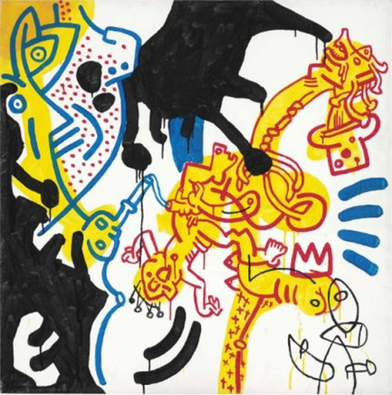 KEITH HARING - UNTITLED 40 x 40 INCHES - FOR MORE DETAILS, EMAIL INFO@GALLART.COM - ADD CODE #GALLARTHARING