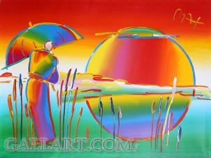 PETER MAX - RAINBOW UMBRELLA MAN IN REEDS (GallArt.com)