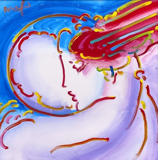 "PETER MAX - ""I LOVE THE WORLD"" - 36 X 48 INCHES - ACRYLIC ON CANVAS"