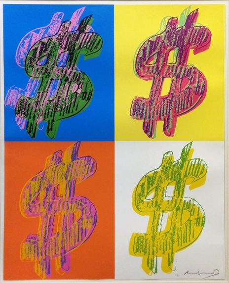 ANDY WARHOL - $ QUADRANT 40 x 32 INCHES - FOR MORE DETAILS, EMAIL INFO@GALLART.COM - ADD CODE #GALLARTWARHOL