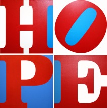 ROBERT INDIANA - HOPE (R/W/B) 72 x 72 INCHES - FOR MORE DETAILS, EMAIL INFO@GALLART.COM - ADD CODE #GALLARTINDIANA