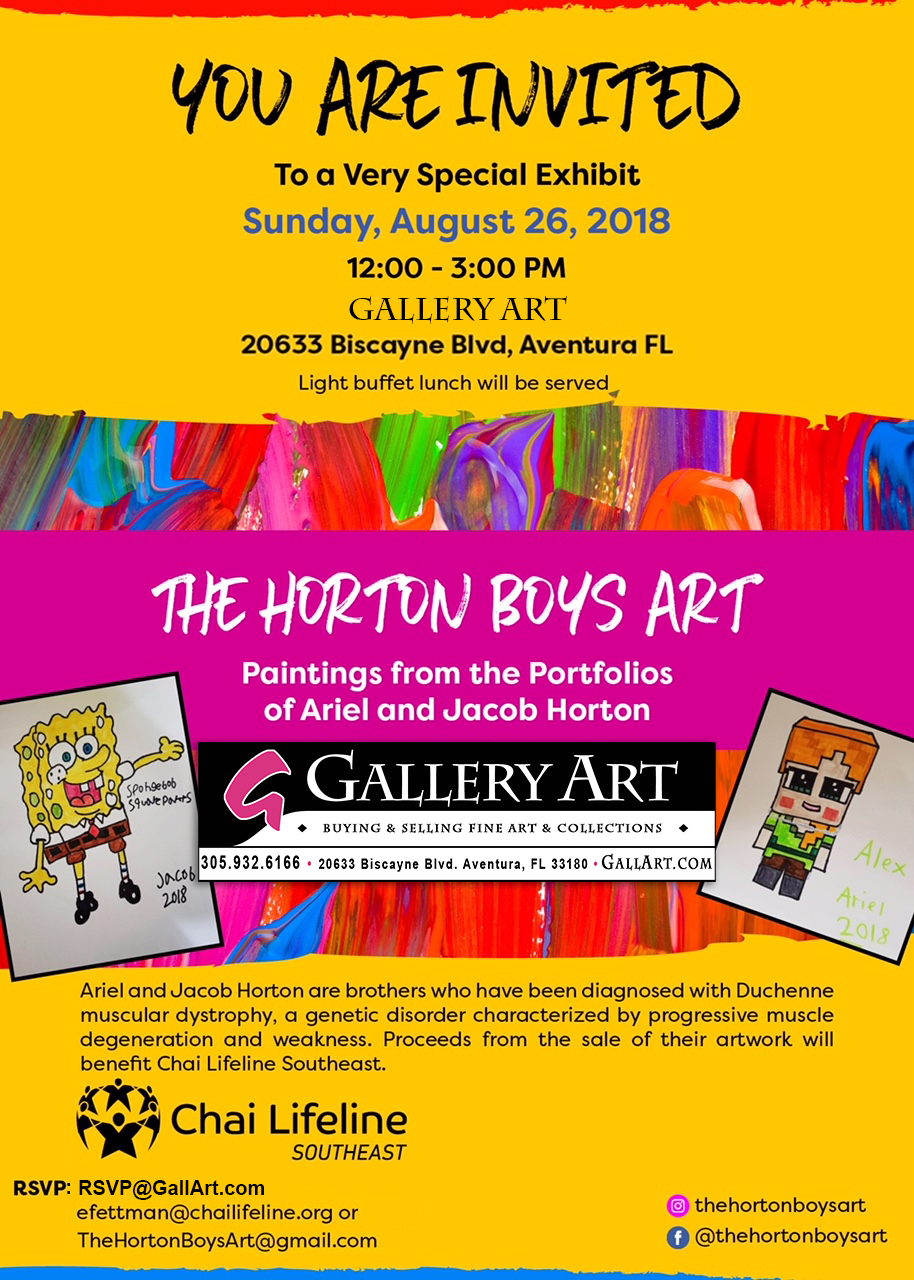 Young Artists Ariel and Jacob Horton Debut Exhibit to Benefit Chai Lifeline Southeast