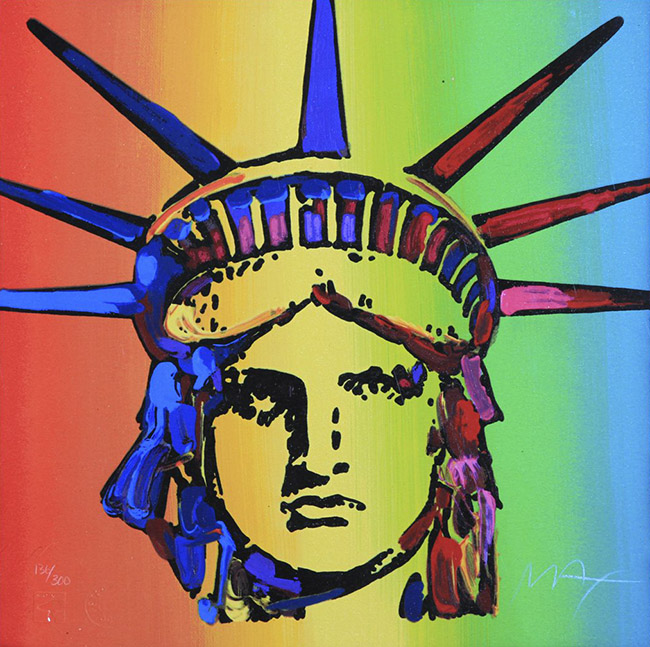 PETER MAX | LIBERTY HEAD RETRO SUITE 3/3 | 11 X 11 INCHES | FOR MORE DETAILS, EMAIL: INFO@GALLART.COM | MENTION CODE #DCGALLART FOR 20% OFF ON YOUR ORDER