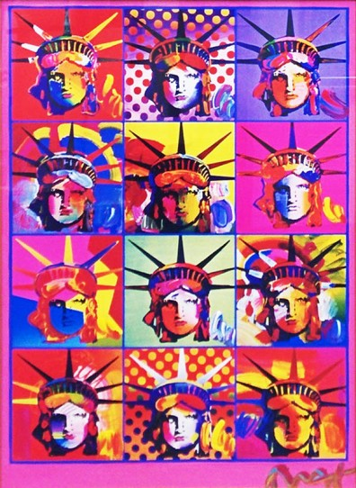 PETER MAX | LIBERTY AND JUSTICE FOR ALL | 24 x 18 INCHES | FOR MORE DETAILS, EMAIL: INFO@GALLART.COM | MENTION CODE #DCGALLART FOR 20% OFF ON YOUR ORDER
