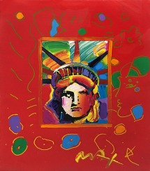 PETER MAX | LIBERTY HEAD III | 14 X 12 INCHES | FOR MORE DETAILS, EMAIL: INFO@GALLART.COM | MENTION CODE #DCGALLART FOR 20% OFF ON YOUR ORDER