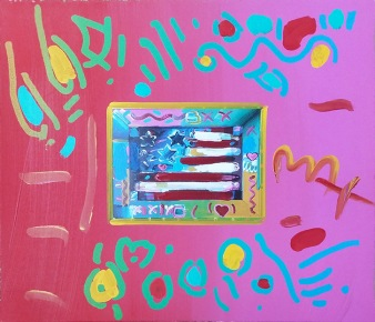 PETER MAX | FLAG | 12 X 14 INCHES | FOR MORE DETAILS, EMAIL: INFO@GALLART.COM | MENTION CODE #DCGALLART FOR 20% OFF ON YOUR ORDER