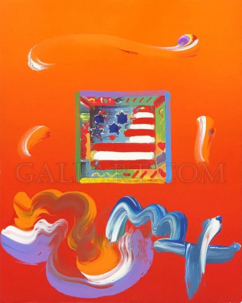 PETER MAX | FLAG | 8.5 X 11 INCHES | FOR MORE DETAILS, EMAIL: INFO@GALLART.COM | MENTION CODE #DCGALLART FOR 20% OFF ON YOUR ORDER