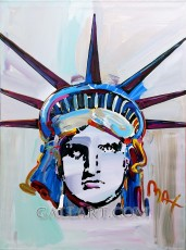 PETER MAX | LIBERTY HEAD VER. V #1 | 48 X 36 INCHES | FOR MORE DETAILS, EMAIL: INFO@GALLART.COM | MENTION CODE #DCGALLART FOR 20% OFF ON YOUR ORDER