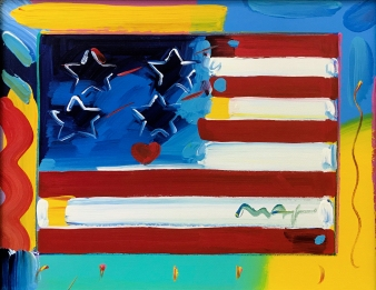 PETER MAX | FLAG | 20 X 24 INCHES | FOR MORE DETAILS, EMAIL: INFO@GALLART.COM | MENTION CODE #DCGALLART FOR 20% OFF ON YOUR ORDER